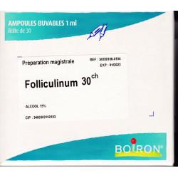 Folliculinum  gouttes, ampoules,  trituration Boiron  4CH, 5CH, 7CH, 9CH, 12CH, 15CH, 30CH