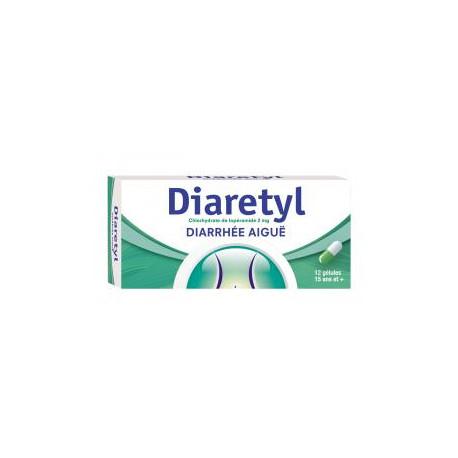 Diaretyl 2mg boîte de 12 gélules, diarrhées aiguës chez l'adulte