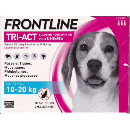 FRONTLINE TRI ACT 10-20 kg Solution anti-parasitaire 3 pipettes chien