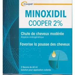 Minoxidil 2% Cooper 3  flacons de 60 ml