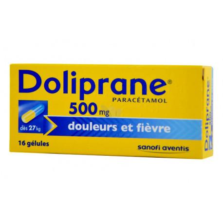 Doliprane 500 mg, douleurs et fièvre boîte de 16 gélules