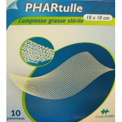 PHARtulle 10X10 cm compresse grasse stérile