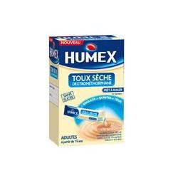 HUMEX Toux sèche Dextromethorphane sans sucre 15  sachets