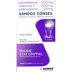 Paracetamol/ vitamineC/ Pheniramine 8  sachets Sandoz