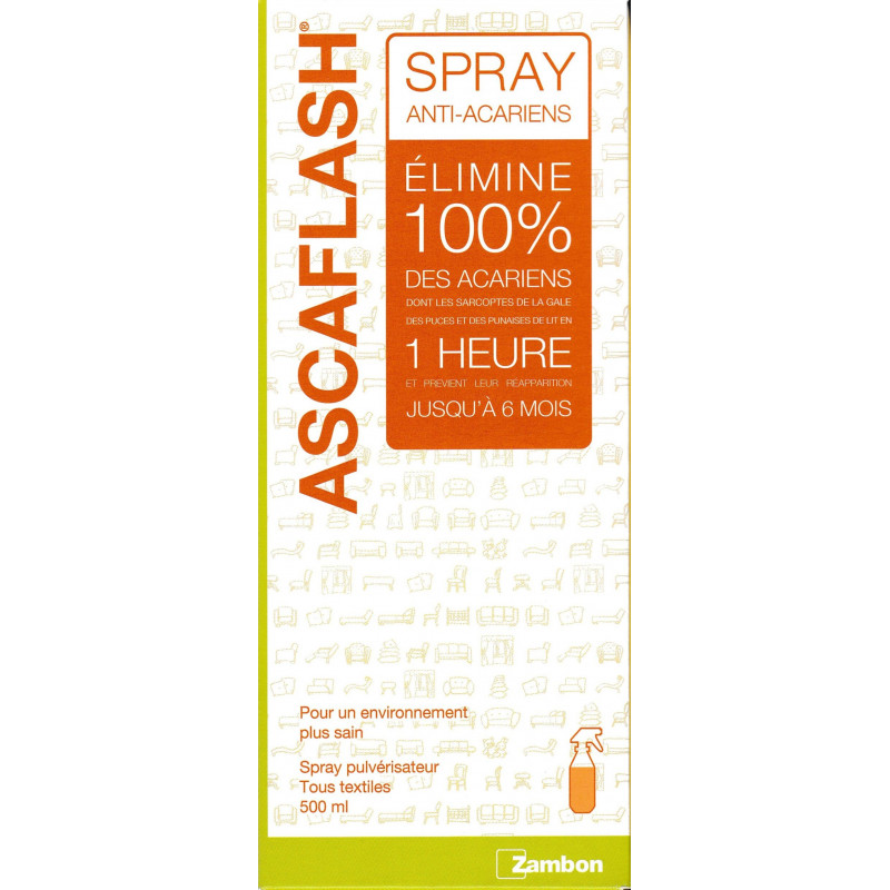 Ascaflash spray anti acariens anti gales a rosol de 500 ml - Bombe anti acarien ...