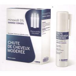 Minoxidil 5% Sandoz 3 flacons pompe 60 ml