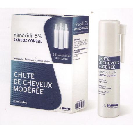 minoxidil 5 sandoz 3 flacons pour la chute de cheveux mod r e des hommese de l 39 homme adulte. Black Bedroom Furniture Sets. Home Design Ideas