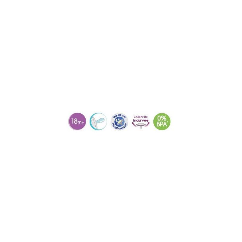 F/ée Luc et L/éa Sucette Silicone Sym/étrique Phosphorescente 18 Mois et