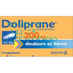 Doliprane 200 mg 10 suppositoires sécables
