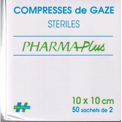 Compresses de gaze stériles 10 X 10  PHARMAPlus sachets