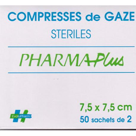 Compresses de gaze stériles 7,5 X 7,5 PHARMAPlus sachets