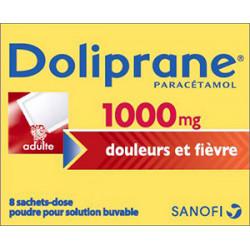 Doliprane 1000 mg 8 sachets-dose pour solution buvable